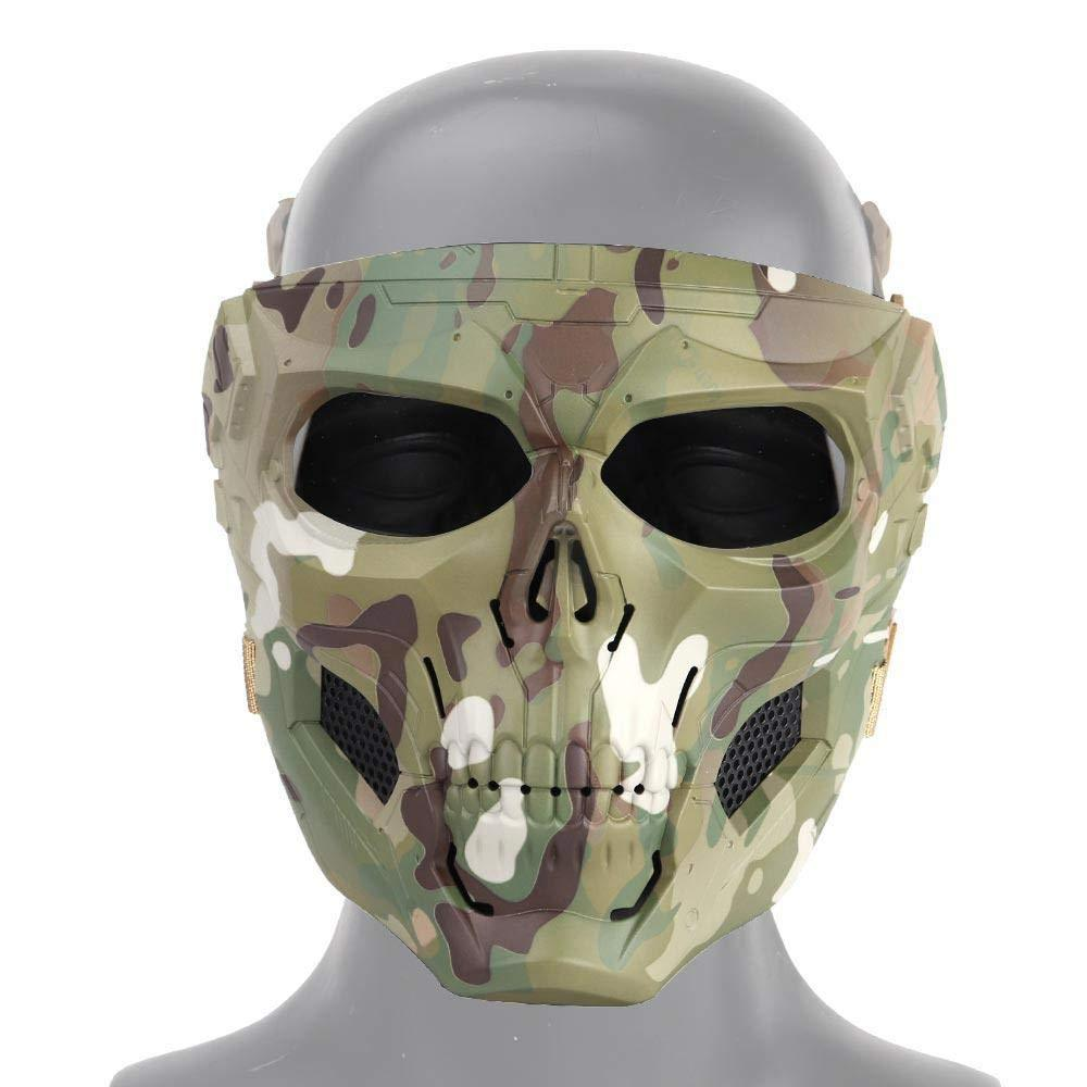 Tactical Paintball Skull Mask - Protective Full Face Airsoft Skull Mask - Green Camo - Paintball Accessories