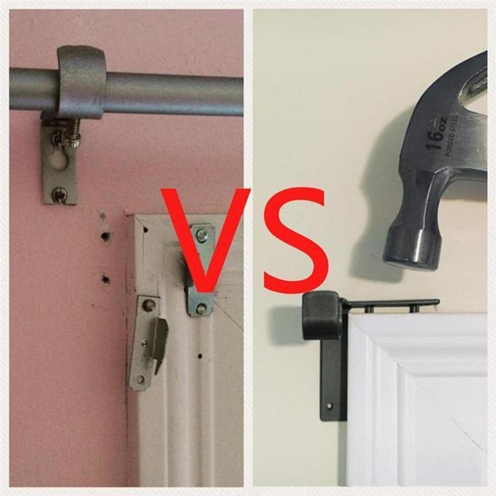 Tap Bracket - No-Drill Curtain Rod Bracket Tap-In Holders Into Window Frame - Curtain Decorative Accessories