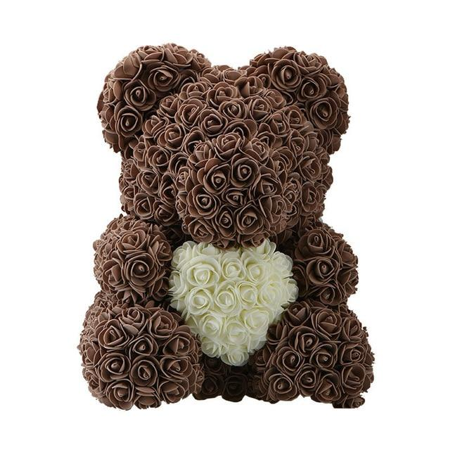 Teddy Rose Bear Love Heart Artificial Rose Wedding Anniversary Valentines Gift - Brown (Cream Heart)