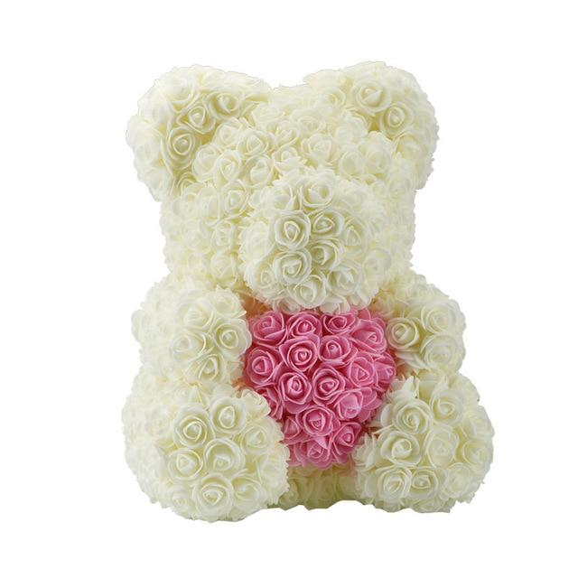 Teddy Rose Bear Love Heart Artificial Rose Wedding Anniversary Valentines Gift - Cream (Pink Heart)