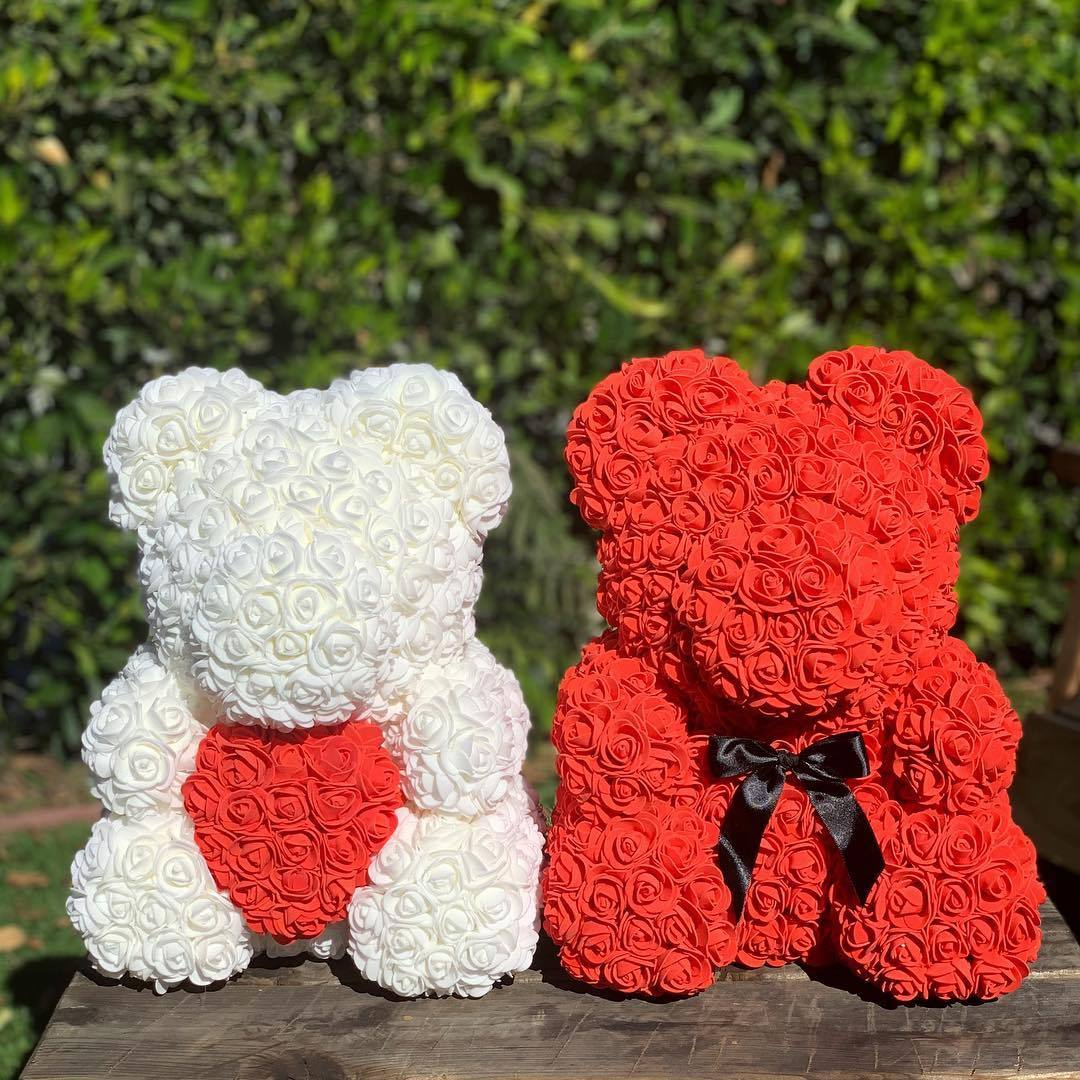 Teddy Rose Bear Love Heart Artificial Rose Wedding Anniversary Valentines Gift