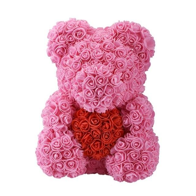 Teddy Rose Bear Love Heart Artificial Rose Wedding Anniversary Valentines Gift - Pink (Red Heart)
