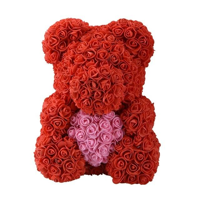 Teddy Rose Bear Love Heart Artificial Rose Wedding Anniversary Valentines Gift - Red (Pink Heart)