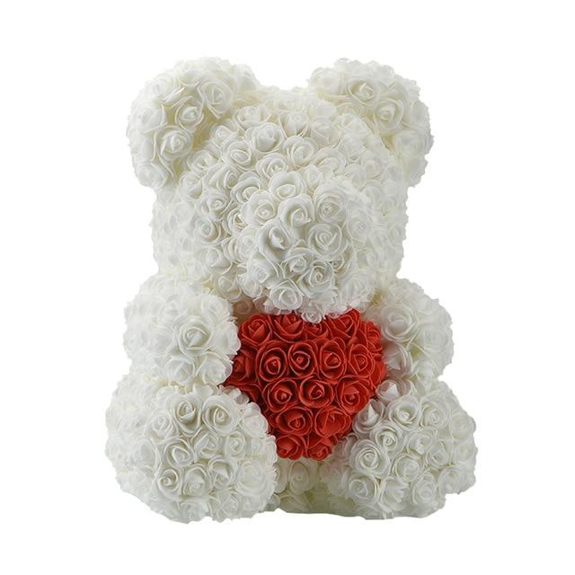 Teddy Rose Bear Love Heart Artificial Rose Wedding Anniversary Valentines Gift - White (Red Heart)