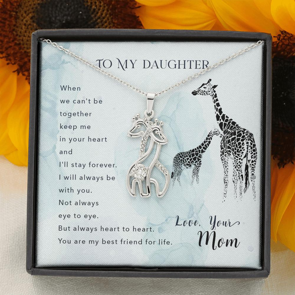 To My Daughter - Beautiful Love Giraffe Necklace Gift For Women 14K White/ 18K Yellow Gold - 14K White Gold Finish - Jewelry