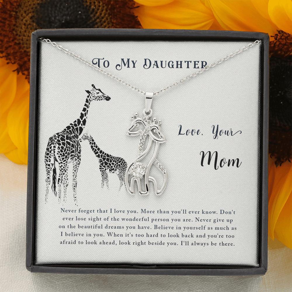 To My Daughter - Graceful Love Giraffe Necklace 14K White/ 18K Yellow Gold - 14K White Gold Finish - Jewelry