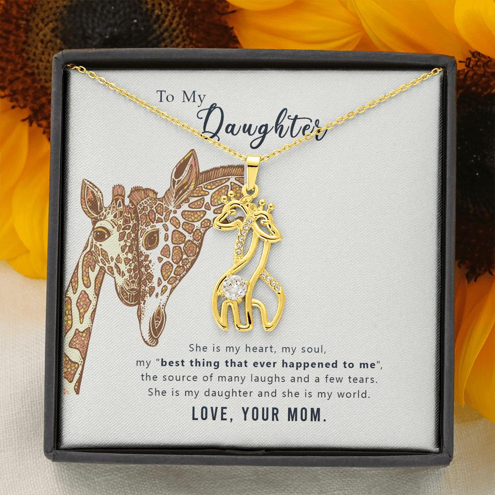 To My Daughter - Graceful Love Giraffe Necklace Jewelry For Daughter - 18K Yellow Gold Finish - Jewelry