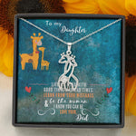 To My Daughter - Graceful Love Giraffe Necklace Jewelry - Gift For Daughter - 14K White Gold Finish - Jewelry
