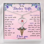 To My Doctor Wife - Stethoscope Necklace With Swarovski Crystal Jewelry - Jewelry