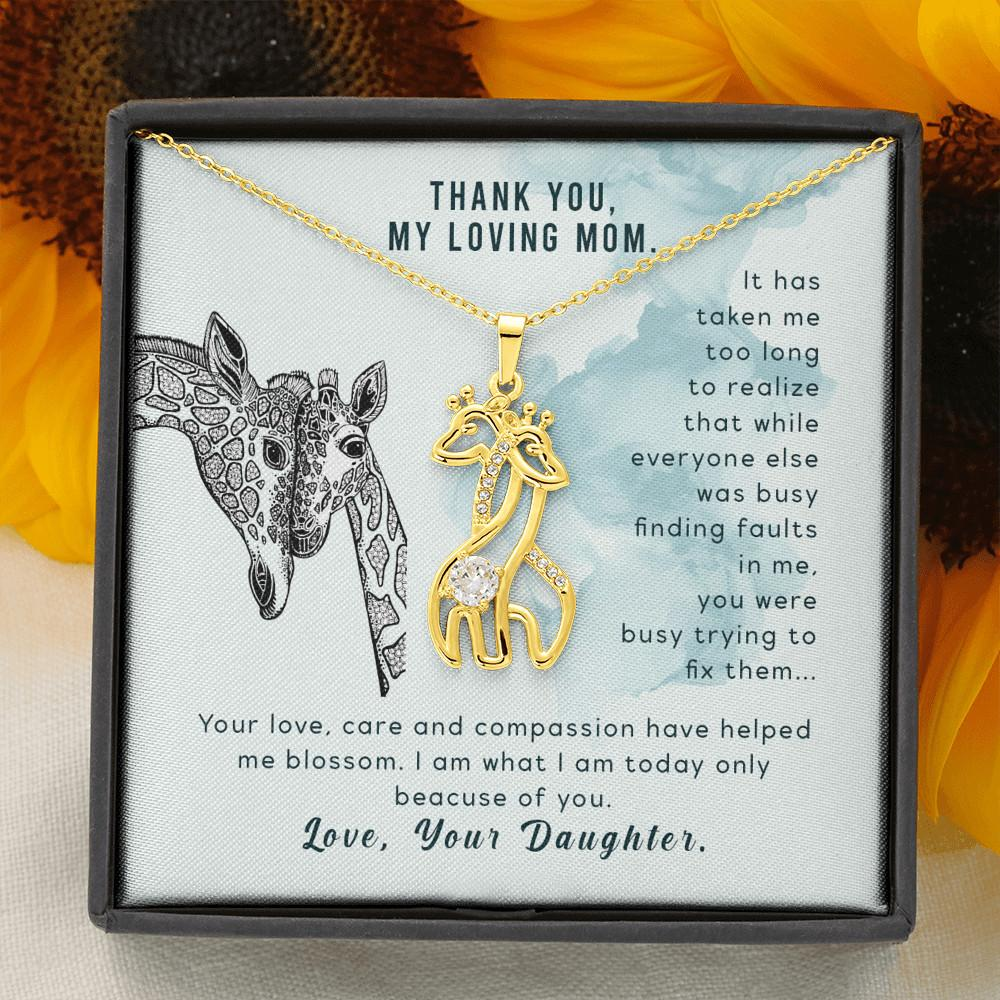 To My Mother - Graceful Love Giraffe Necklace Women Jewelry - 18K Yellow Gold Finish - Jewelry