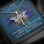 To My Mother - Rose Gold Heart Dragonfly Pendant Necklace GIft For Mom - Jewelry