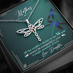 To My Mother - Stainless Steel Dragonfly Pendant Necklace - Jewelry