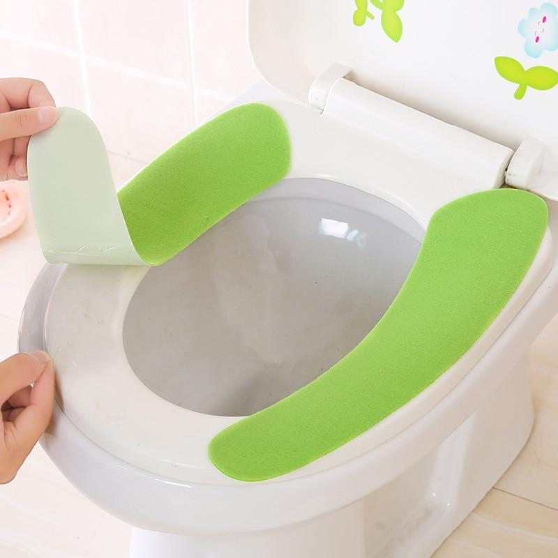 Toilet Cushion - Washable Self-Adhesive Toilet Seat Sticker Pad - Green - Toilet Seat Covers