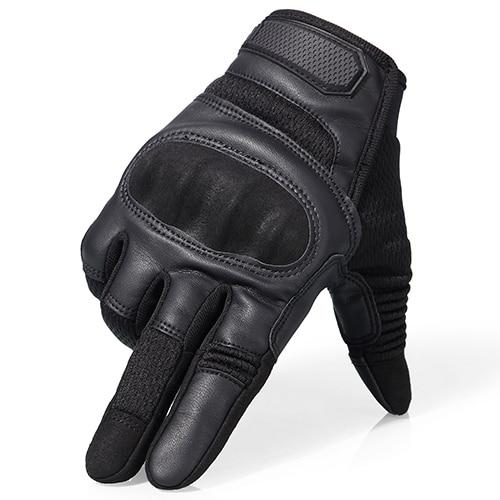 Touch Screen Hard Knuckle Tactical Military Combat Leather Gloves For Shooting HIking - Full Finger Black / S