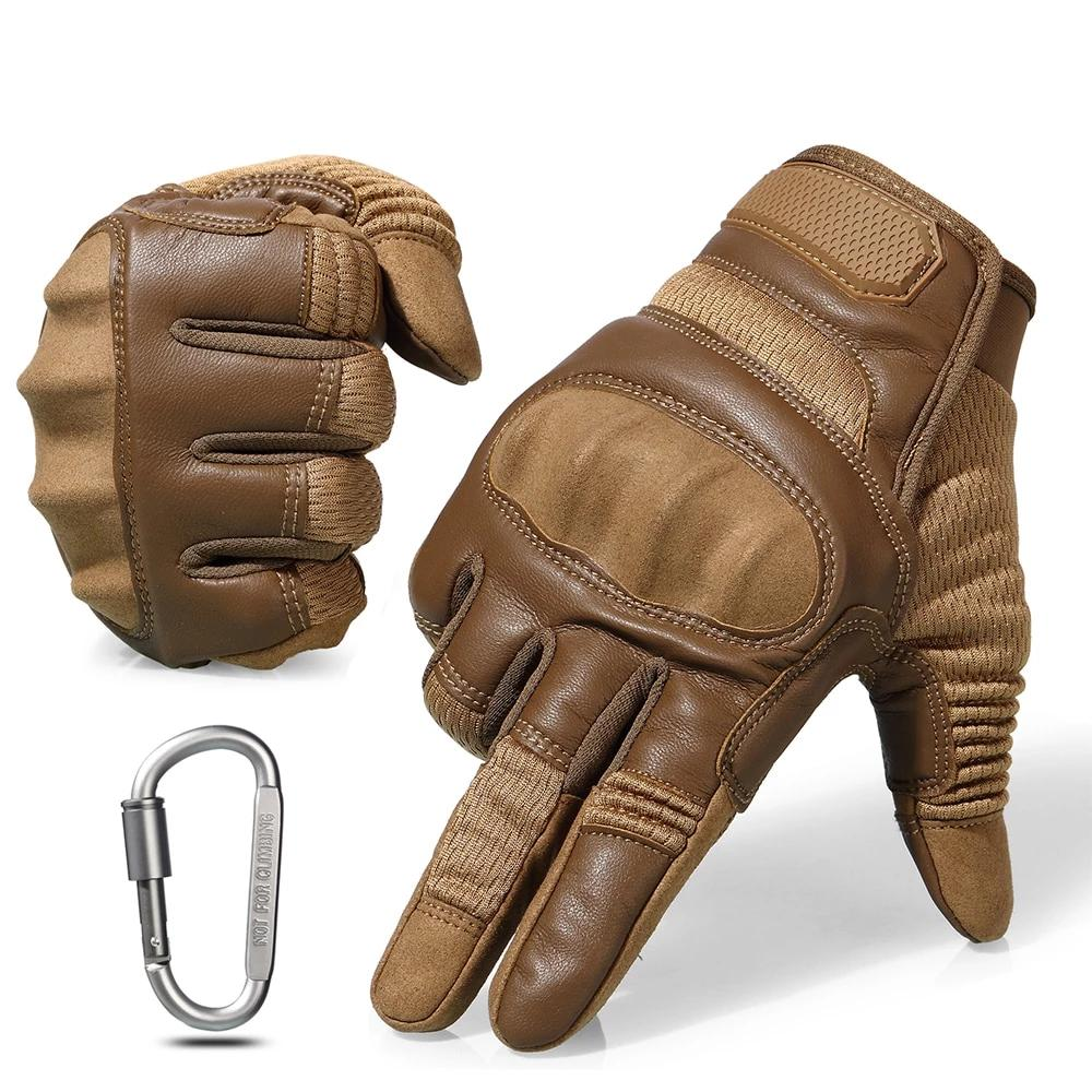 Touch Screen Hard Knuckle Tactical Military Combat Leather Gloves For Shooting HIking - Full Finger Brown / S