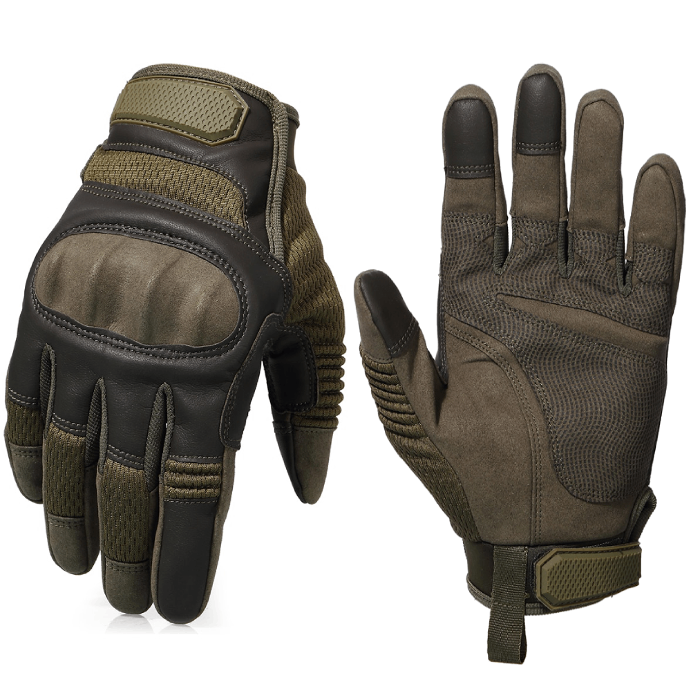 Touch Screen Hard Knuckle Tactical Military Combat Leather Gloves For Shooting HIking - Full Finger Green / S