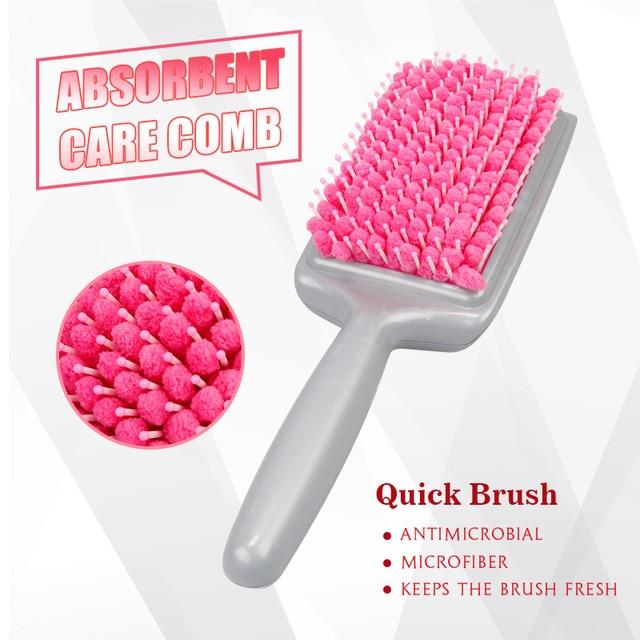 TowelComb - Quick Dry Hair Styling Water Absorbent Detangling Paddle Brush - Pink