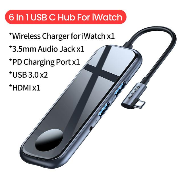 USB Type C Hub Laptop Docking System With HDMI Ethernet USB 3.0 Power Adapter For MacBook Pro Air USB Hub Splitter - USB C Hub With iWatch