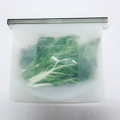 Reusable Silicone Food Sealing Storage Bags - 4pcs white