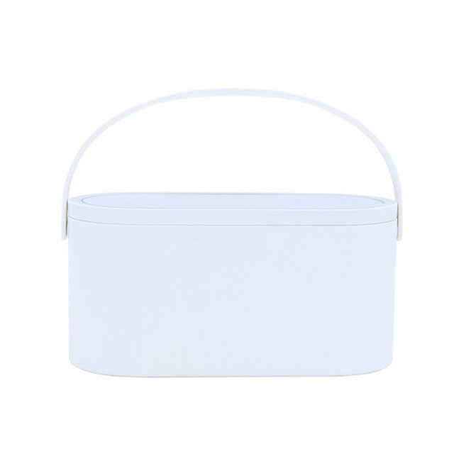Makeup Tools Travel Case With LED Makeup Mirror - Portable Cosmetic Organizer Box - White - Makeup Box