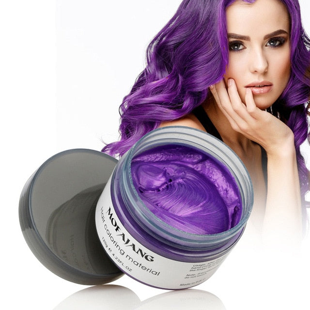 Mofajang Hair Color Wax - Disposable Washable Temporary Color Dye - Purple - Hair Color