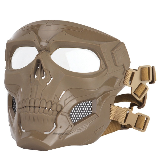 Tactical Paintball Skull Mask - Protective Full Face Airsoft Skull Mask - Brown - Paintball Accessories