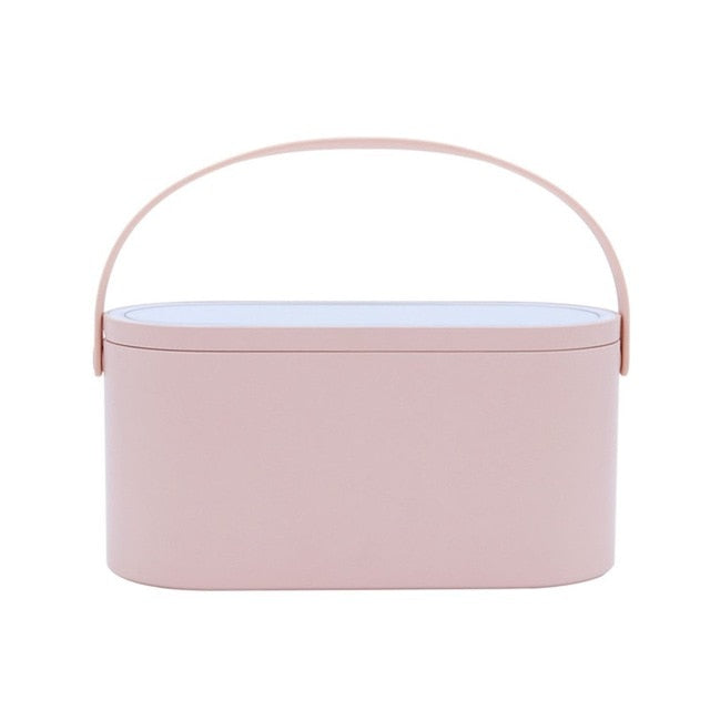 Makeup Tools Travel Case With LED Makeup Mirror - Portable Cosmetic Organizer Box - Pink - Makeup Box