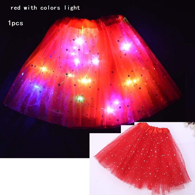Starlight LED Princess Light Up Tutu Costume - Red / For Teenager/Adult - Glow Party Supplies