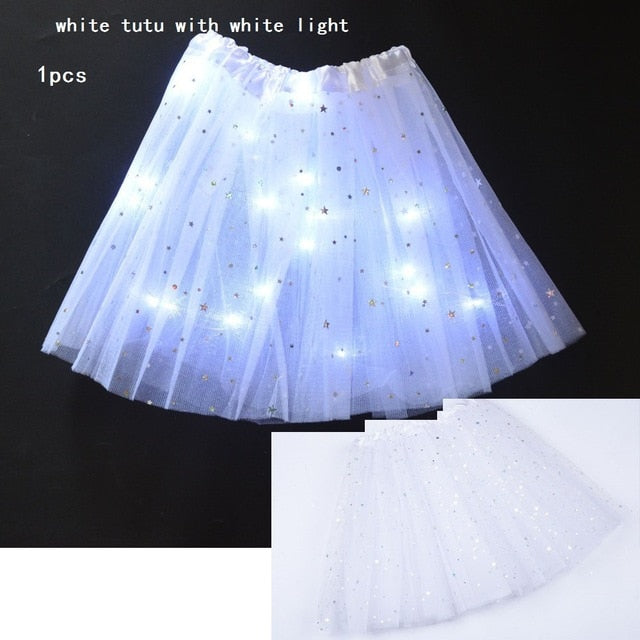 Starlight LED Princess Light Up Tutu Costume - White / For Teenager/Adult - Glow Party Supplies