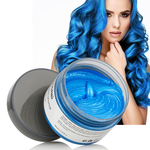 Mofajang Hair Color Wax - Disposable Washable Temporary Color Dye - Blue - Hair Color