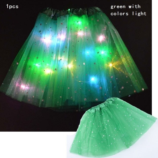 Starlight LED Princess Light Up Tutu Costume - Green / For Teenager/Adult - Glow Party Supplies