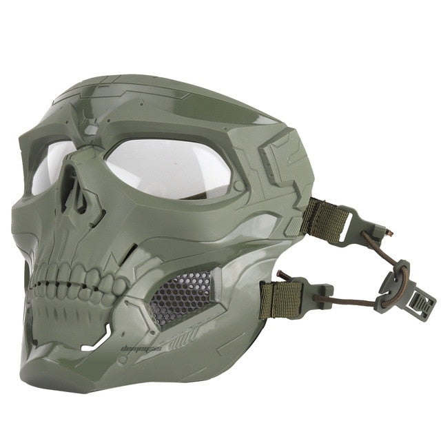 Tactical Paintball Skull Mask - Protective Full Face Airsoft Skull Mask - Green - Paintball Accessories