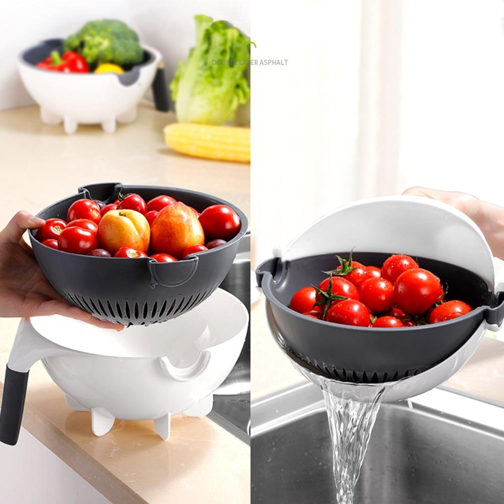 Vegetable Cutter Slicer Shredder With Colander Rotate Drain Basket