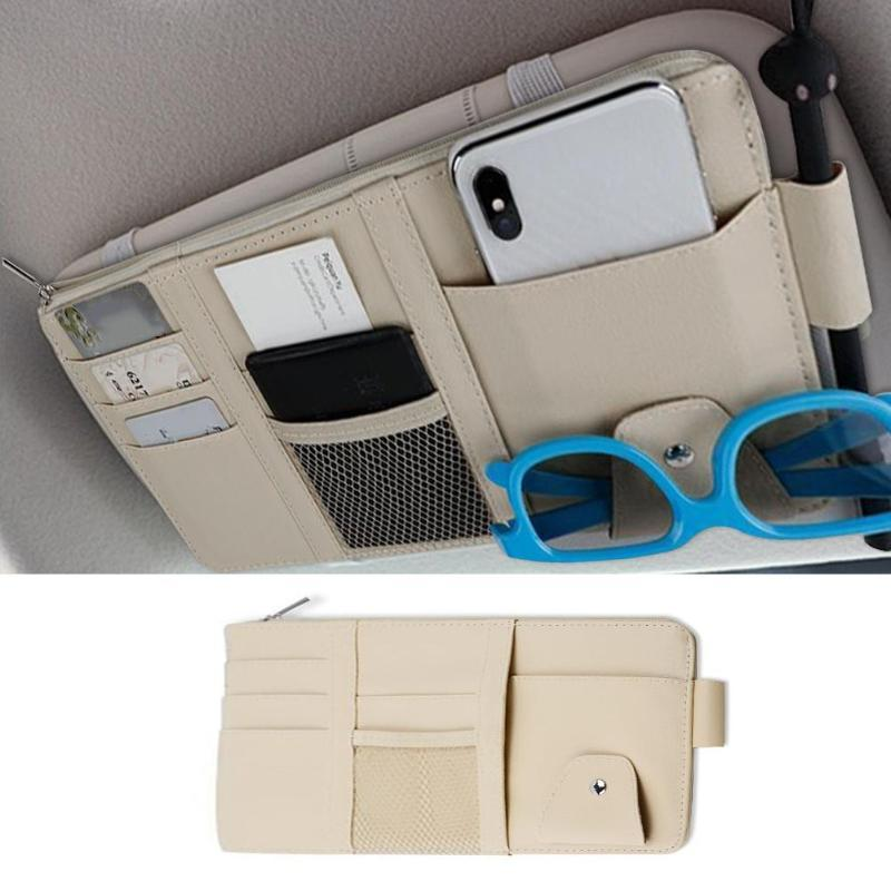 VisorPlus - Universal All In One Car Sun Visor Organizer Storage Bag - Beige