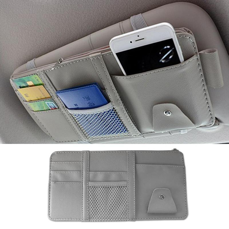 VisorPlus - Universal All In One Car Sun Visor Organizer Storage Bag - Gray
