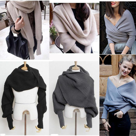 Warm Soft Convertible Knitted Scarf Shawl With Long Sleeves - Wrap Scarves - Womens Scarves
