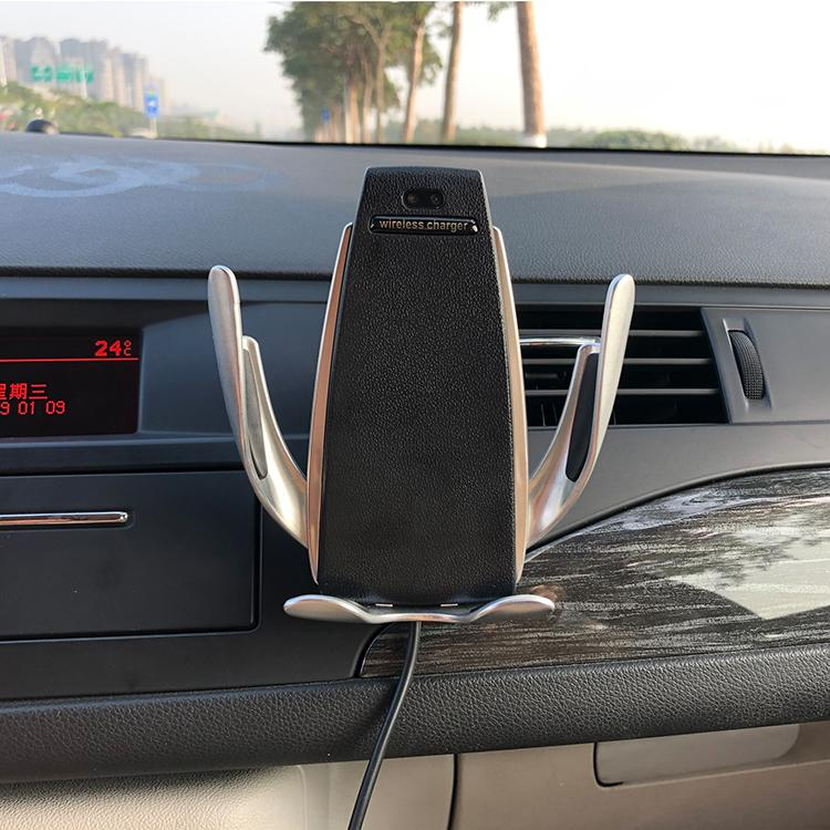Wireless Car Charger Automatic Clamping - Qi Fast Car Charging Mount For iPhone X XS Max 8 Samsung - Car Chargers