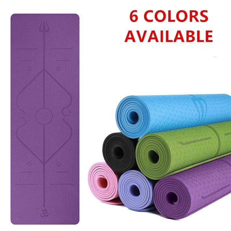 YogieRight - Non Slip Yoga Mat With Correct Position Line Alignment System - Yoga Mats