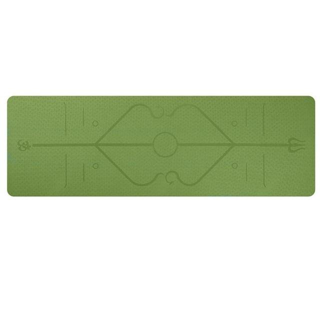 YogieRight - Non Slip Yoga Mat With Correct Position Line Alignment System - Green - Yoga Mats