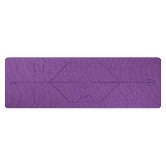 YogieRight - Non Slip Yoga Mat With Correct Position Line Alignment System - Purple - Yoga Mats