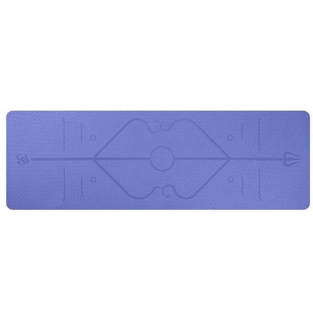 YogieRight - Non Slip Yoga Mat With Correct Position Line Alignment System - Violet - Yoga Mats