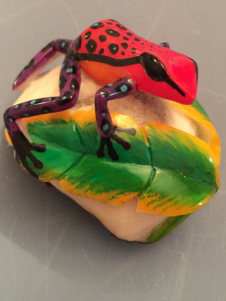 Wounaan Embera Poison Dart Frog Tagua Nut Carving-Panama 19102101mm