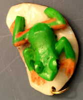 Wounaan Embera Tree Frog Tagua Nut Pendant Carving-Panama 19102208mm
