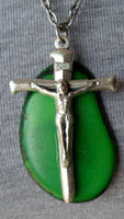 Christian Necklace Pendant Crucifix Tagua Nut & Pewter-Ecuador 20011713mm