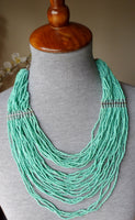 Turquoise Bead Necklace Silver Color Metal Jewelry 20011715mm