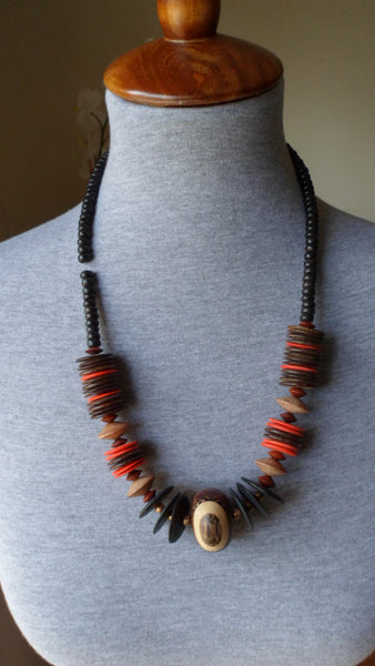 African Bead and Wood Necklace Jewelry 20011722mm