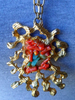Estate Sale Jewelry Gold Tone Inlaid Coral & Turquoise  Necklace 20012303mm
