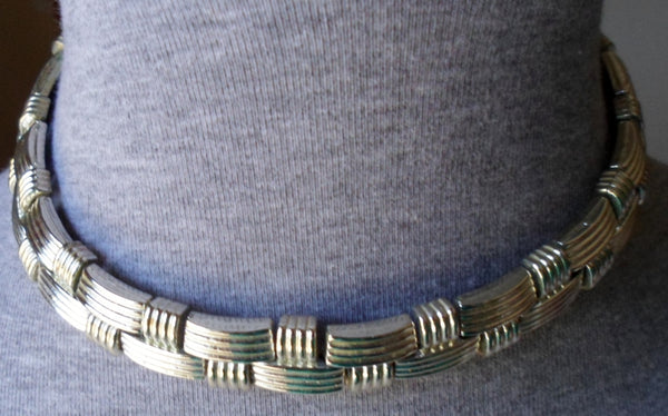 Estate Sale Jewelry Silver Tone Woven Design Choker Necklace 20012309mm