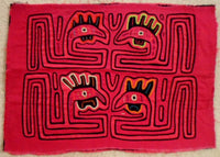 Kuna Indian Hand-Stitched Pink Rooster MoIa-Panama 20011708mm
