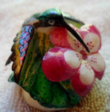 Wounaan Embera Hummingbird Tagua Nut Carving-Panama 20100119mm